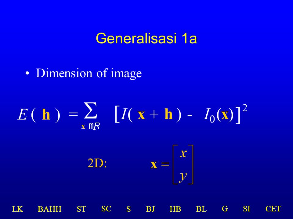 S [ ] E ( h ) = I ( x + h ) - I0 ( x ) 2 Generalisasi 1a